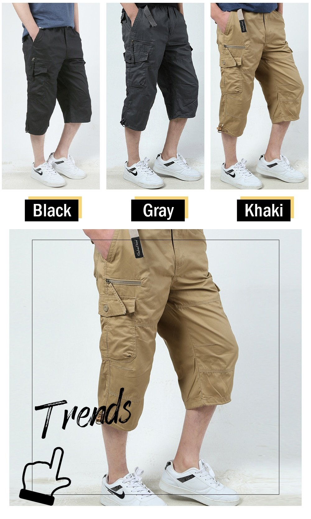 3/4 Cargo Shorts Men Classic Solid Color Summer Hot Sale Cotton Casual Work Out Outdoor Hiking Capri Short Pants with Pocket 5XL